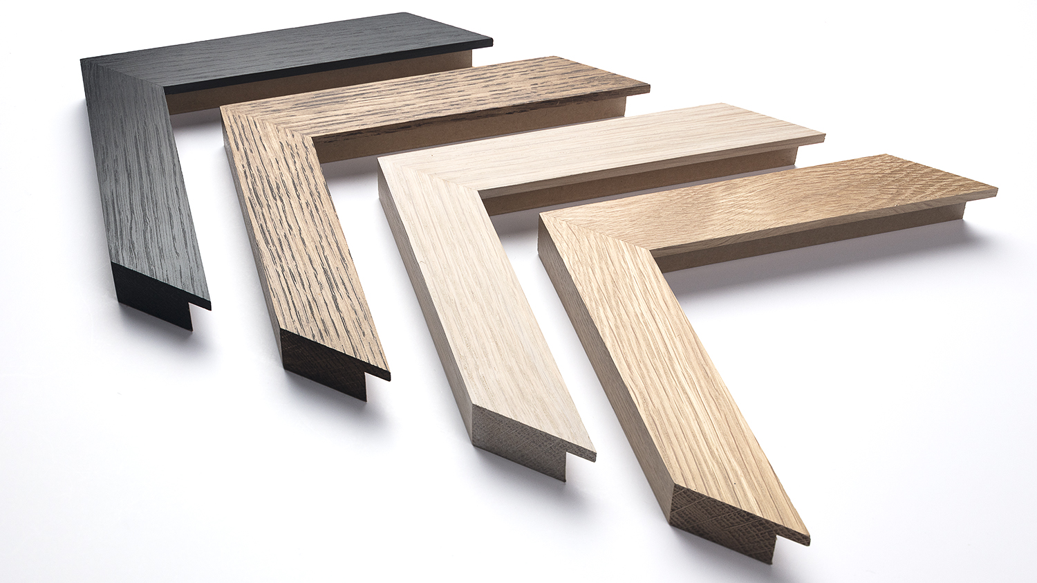 Oak Frame 30mm x 15mm (finishes shown from left to right)