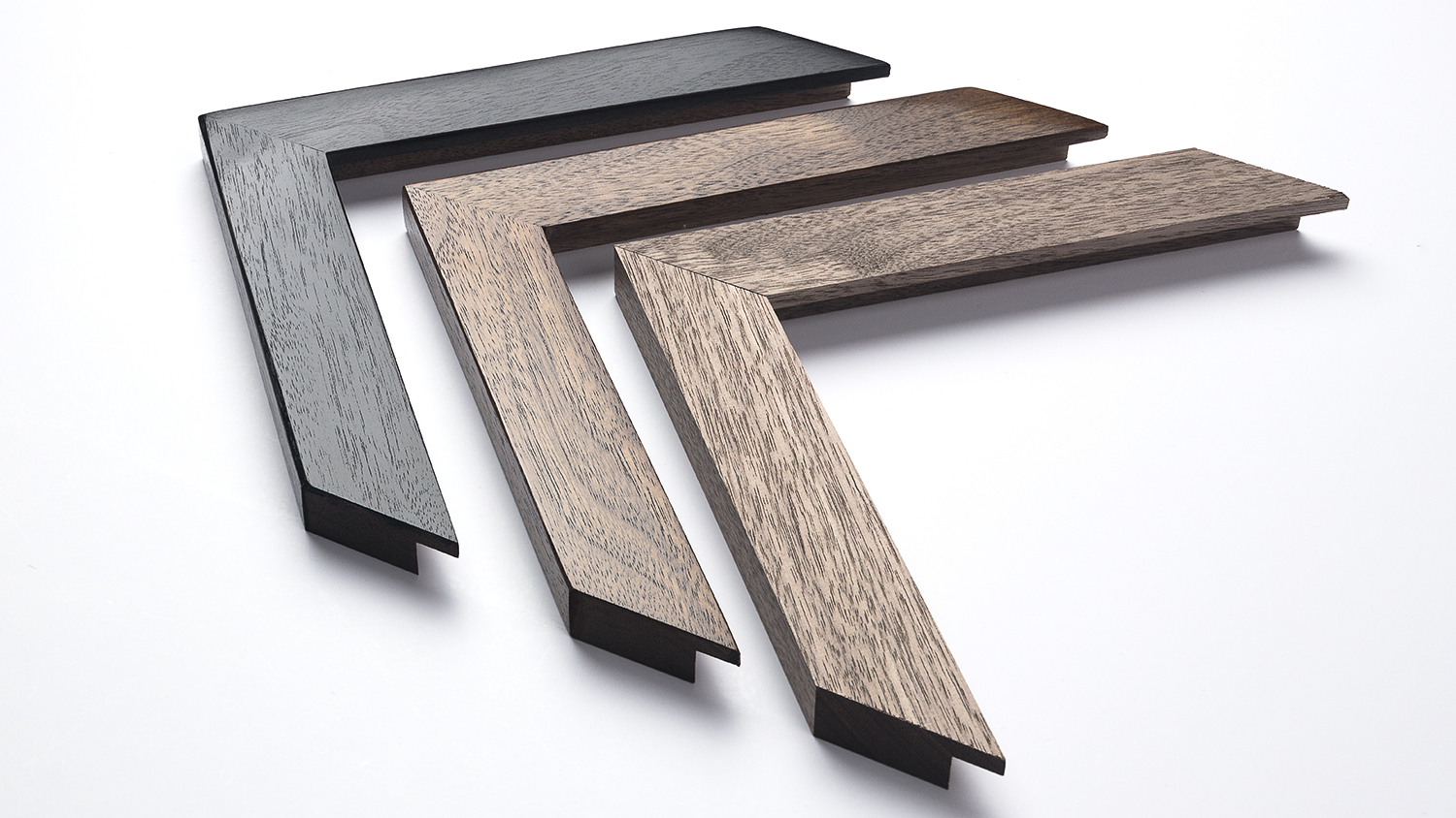 Walnut Frame 30mm x 17mm (Finishes shown from left to right)